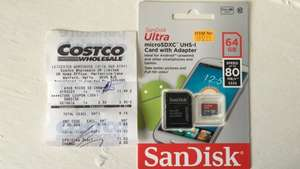 Sandisk ultra micro sd 64 GB £11.02 Costco