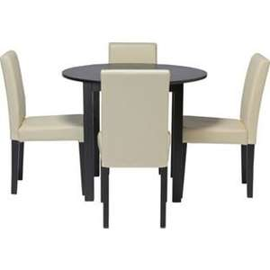 Elmdon Black Circular Dining Table and 4 Cream Chairs - half price £99.99 at argos