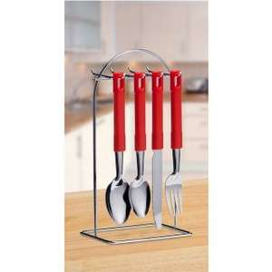 24 Piece Cutlery Set[red/black/cream] With Wire Stand £3.99 @ b&m