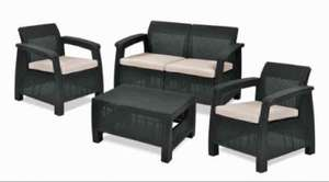 Keter Corfu Garden Furniture Graphite Set (2 Armchairs, Sofa and Table) with Cream Cushions Amazon £129.99
