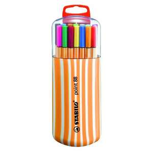 STABILO point 88 Zebrui Case - pack of twenty fineliners @Wilko £5 + Free click & collect or £4 delivery