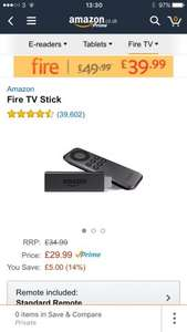 Amazon Fire tv stick £29.99 on amazon and also prime now