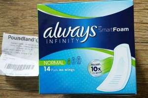 Always Infinity 14 Pack, Normal, In Store @ Poundland £1