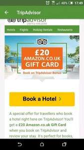 £20 Amazon gift card when you book a stay through Trip advisor and leave a review. See details for more info