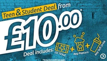 Odeon Teen & Student / 13-17 Deal -  1x standard 2D ticket • 1x regular popcorn • 1x regular soft drink for £10