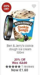 Ben & Jerry's cookie dough ice cream £1.60 with MyPicks at Waitrose