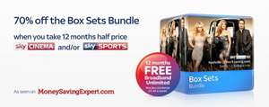 Get 70% off the Box Sets Bundle and 12 months half price Sky Sports and / or Sky Cinema and save up to £535 - claim your code now!