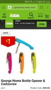 Asda Bottle Opener & Corkscrew 25p