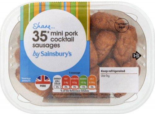 Sainsbury's Cooked mini pork (61%) cocktail sausages (35 = 252g) was £1.65 now £1.00 @ Sainsbury's