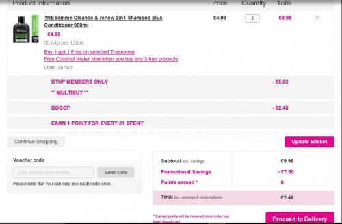 TRESemme Shampoo BOGOF Half Price £2.48 @ Superdrug