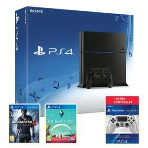 PS4 Console Black 500GB + Uncharted: 4+ No Man's Sky + DualShock 4 Controller Silver £279.86 @ ShopTo