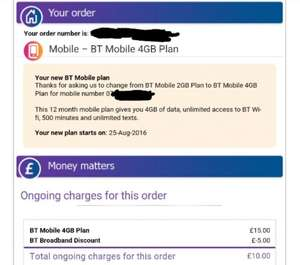Double your BT Mobile data for free - log in to check upgrade options