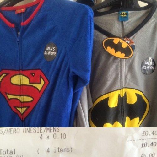 Mens superhero onesie was £14.99 then £3 now 10p! B&M