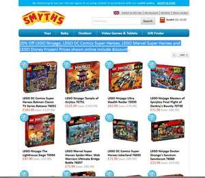 20% Off LEGO Ninjago, LEGO DC Comics Super Heroes, LEGO Marvel Super Heroes and LEGO Disney Frozen! Prices shown online include discount at  Smyths Toys