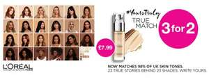 3 for 2 on selected L'Oreal Paris @ Superdrug + Free Delivery with Beautycard