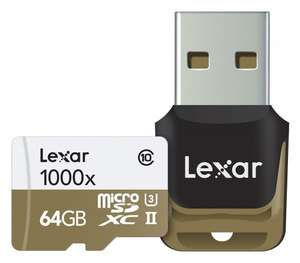 Lexar Professional 64 GB Class 10 High Performance 1000x microSDXC UHS-II Memory Card with Card Reader  £12.99(Prime) £16.98(non Prime)  Amazon