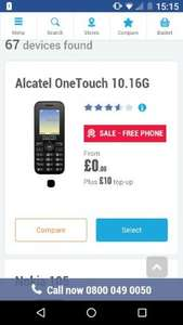 Free Alcatel OneTouch 10.16G + £10 To Top Up @ CPW