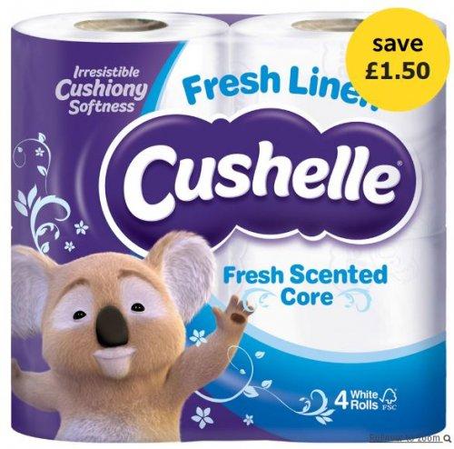Cushelle Fresh Linen 4 Toilet Rolls White £1.25 @ Wilko