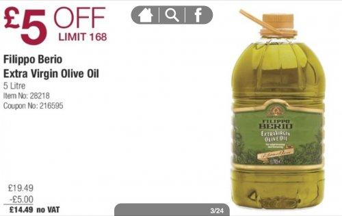 Filippo Berio Extra Virgin Olive Oil 5 litres @Costco for £14.49