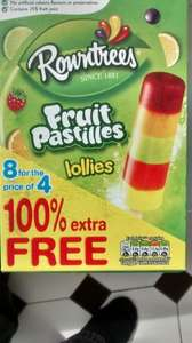 Rowntrees Fruit Pastilles Lollies  8 pk  (4+4 Free) £1.00 @ Farmfoods