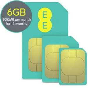 ee data sim 12 months 1 year 500mb a month £14.99 all in  from Argos