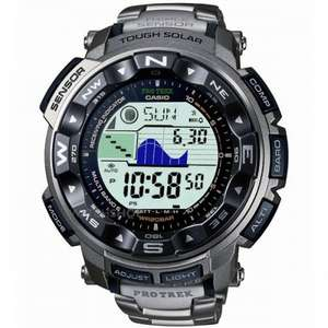 CASIO MEN'S PRO TREK TITANIUM ALARM CHRONOGRAPH RADIO CONTROLLED WATCH PRW-2500T-7ER - £166.25 with code @ Watch Shop