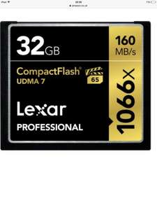 Lexar Professional 1066x Speed 160MB/s CompactFlash Memory Card - 32 GB at Amazon for £22.99