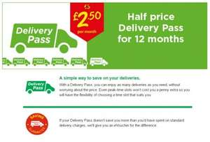It's back - Asda Half Price Anytime delivery pass £2.50p/m - £30 for 12 Months + £10 off a £50 Spend for New customers