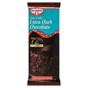 Dr Oetker Extra Dark Chocolate 72% Cocoa Solids, 150g, £1.00 @ Morrisons & Sainsburys