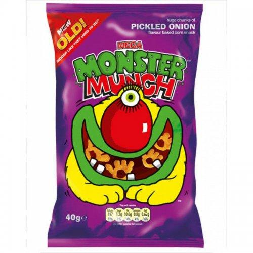 Mega Monster Munch Pickled Onion Snacks 40g 20p Heron Foods