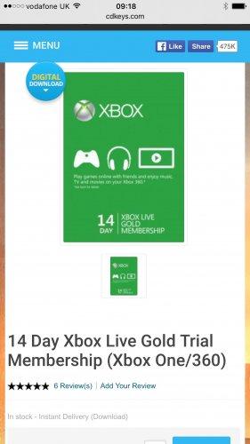 14 Day Xbox Live Gold Trial Membership (Xbox One/360) 89p CDKeys