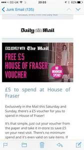 free £5 voucher for House of Fraser with the Daily Mail