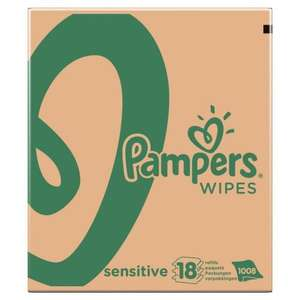 ​Pampers Sensitive Baby Wipes - Pack of 18 for £10 in-store Asda Reading -56p a pack