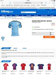 Kids football shirts from 99p delivered @ Kitbag with Carling Promotion