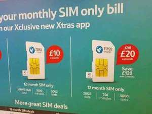 Tesco Mobile 12 Month Sim Only-20GB 4G data-Usually £30p/m, Now £20 and could be £17!! (Offer Extended until 9th Oct!)