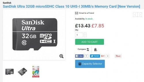 SanDisk Ultra 32GB microSDHC Class 10  Memory Card - £7.85 @ MobyMemory