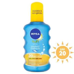 Nivea Sun Protect & Refresh Invisible Cooling Sun Spray SPF 20 £4.50 BOGOF at Ocado