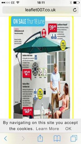 Cantilever Parasol £19.99 @ Aldi