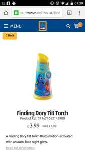 Finding dory tilt torch plus £3.99  other items reduced at aldi plus free delivery at the moment