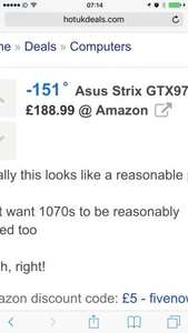 Asus Strix GTX970 Graphics Card £179.99 @ Amazon