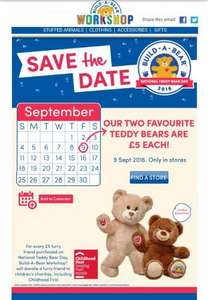 Favourite bears at Build a Bear for £5 each in store on 9th Sept
