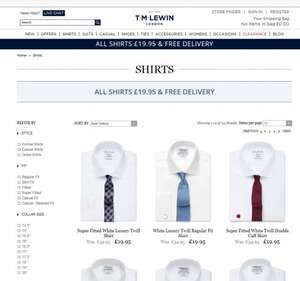 ALL SHIRTS (Including non-iron) £19.95 & FREE DELIVERY (read description)@ TM Lewin