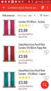 Argos colourmatch curtains 117 x 183cm now £3.99 from £17.99