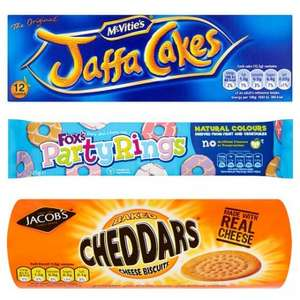 ASDA Jacob's Cheddars 50p, Party Rings 50p, Jamie Dodgers 50p, Pink Panther Creamy Wafers 50p
