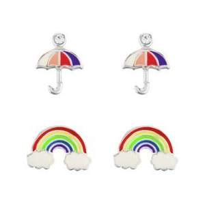 Sterling Silver Enamel Rainbow and Umbrella Studs - Set of 2 (was £10.99) Now £5.49 at Argos