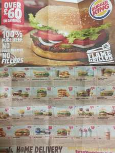loads of burger king coupons on the back of today's metro