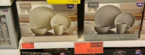 B&M - 16pcs new poppy dinner set - embossed hearrt design [grey/cream] - £5.99 (was 12.99)