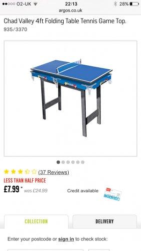 Chad Valley Table Tennis set £7.99 @ Argos (free C&C)