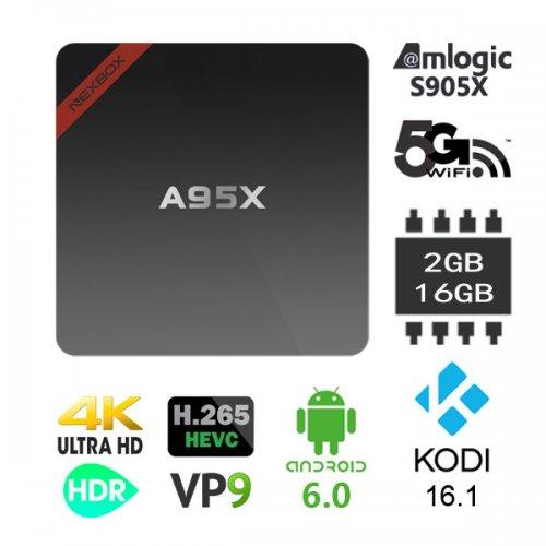 Nexbox A95X Amlogic S905X 2GB/16GB + SD Slot, Android 6, 2.4/5Ghz Dual Band WiFi, 4K 60fps, Kodi 16.1 Bluetooth 4.0, HDR, VP9, HEVC, DTS  £24.43 @ Banggood