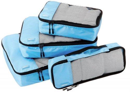 AmazonBasics Packing Cubes - Small, Medium, Large, and Slim (4-Piece Set), Sky Blue £12.79 prime / £17.54 non prime